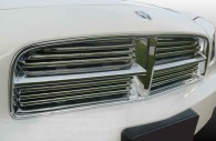 Close up of Dodge Charger chrome front grille