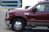 Ford F250 truck with chrome fender vents installed
