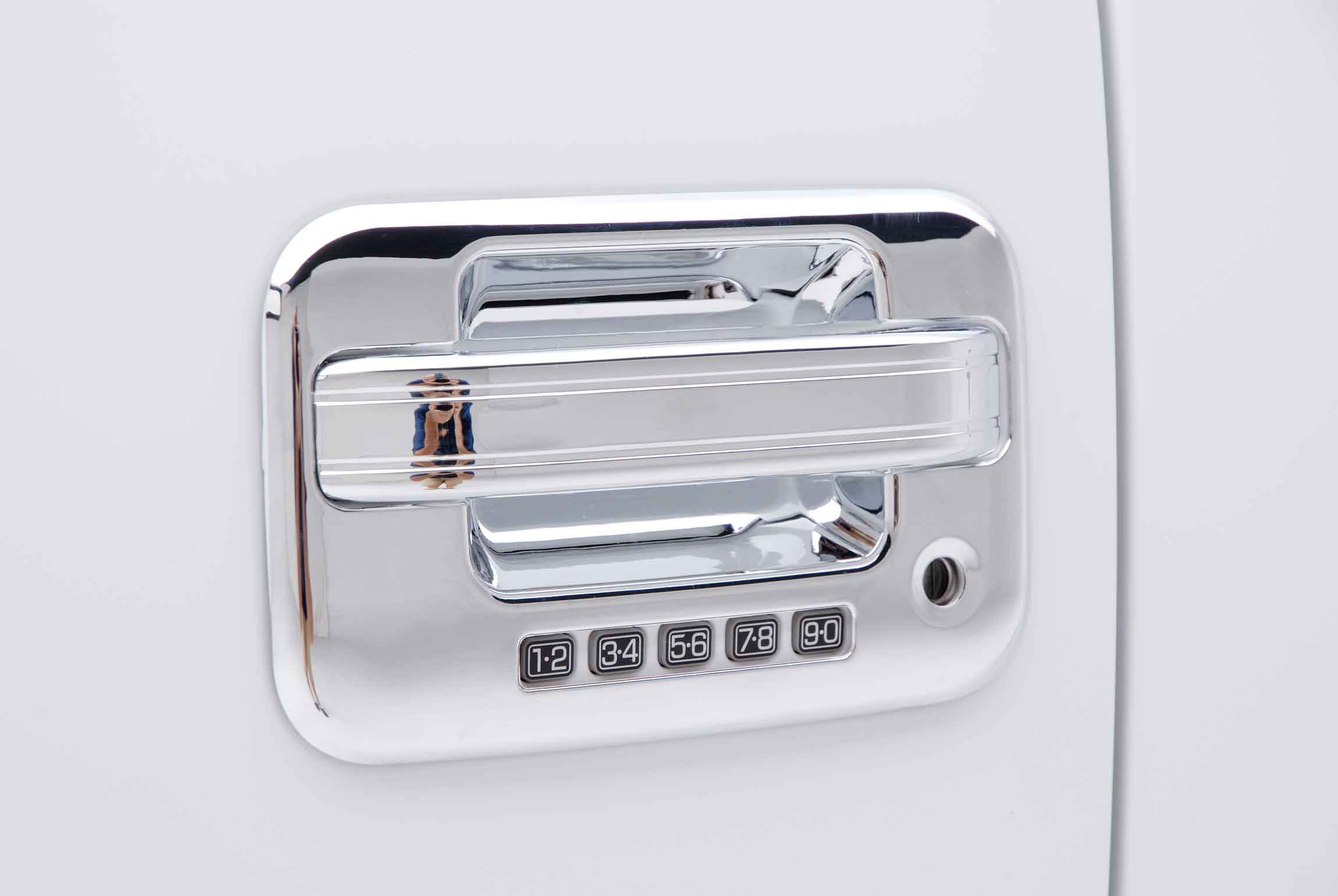 Mirror And Tail Light Covers Installed Close Up Of Ford F Chrome Door Handle