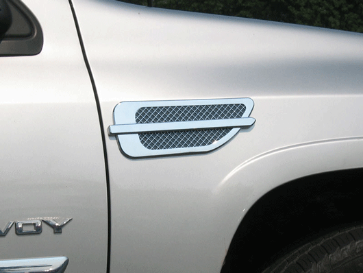 GMC Envoy chrome fender vent port hole trim