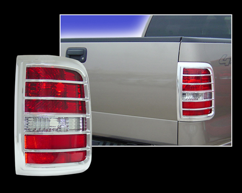 ford f 150 chrome tail light bezel cover trim. Black Bedroom Furniture Sets. Home Design Ideas