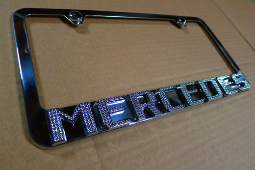 mercedes benz chrome iced out license plate frame