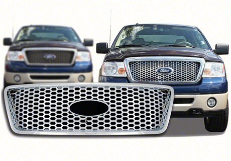 2004-2008 ford f-150 chrome honeycomb mesh grille insert overlay trim