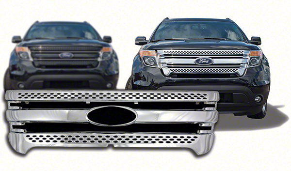 ford explorer chrome grille insert overlay trim 2011 2015. Black Bedroom Furniture Sets. Home Design Ideas