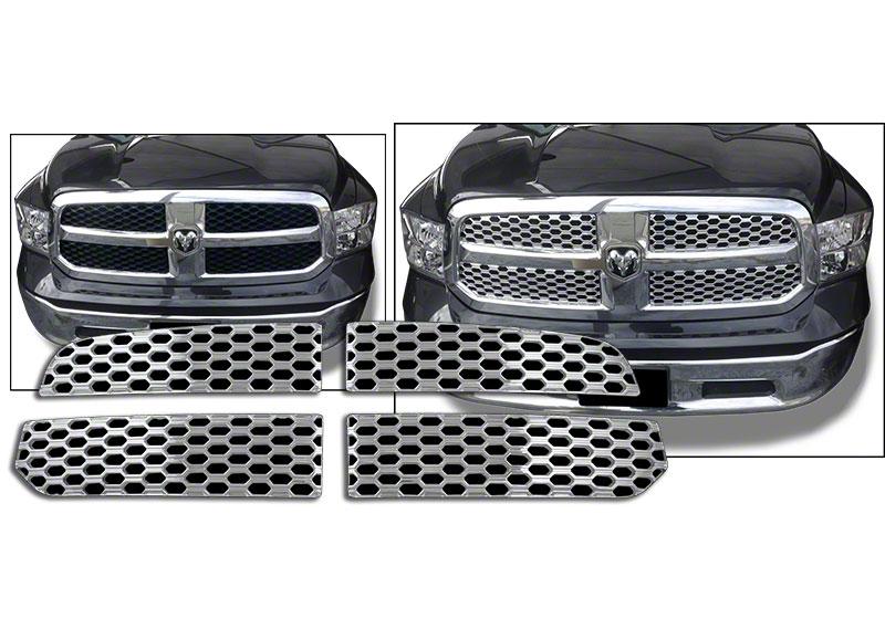 Dodge Ram Chrome Mesh Grille Insert Overlay Trim 2013 2015