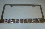bentley continental chrome iced out emblem license plate frame
