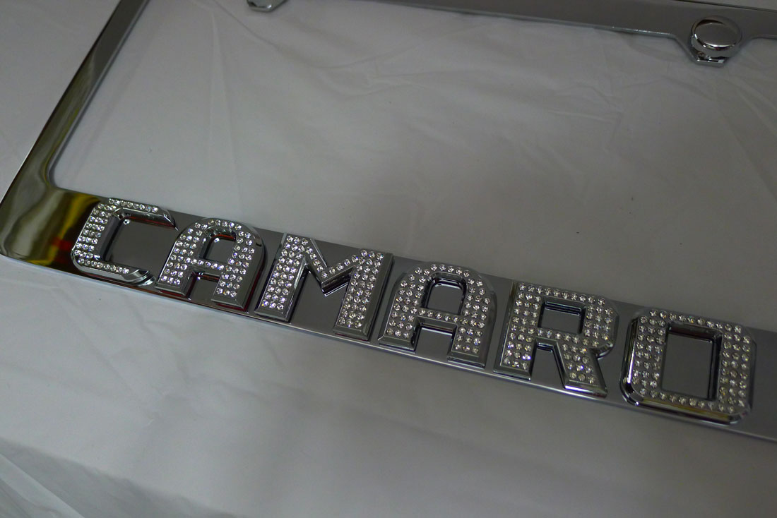 Chevy Camaro License Plate Frame w/ Iced Out Emz Swarovski Crystal ...
