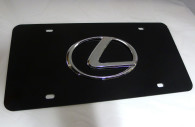 lexus chrome emblem black license plate cover