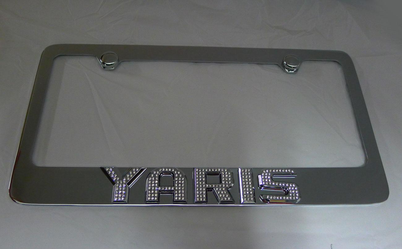 Toyota Yaris Plate Frame W   Iced Out Emz Swarovski Crystal