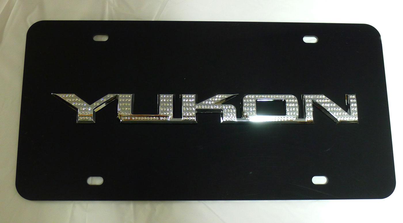 GMC Yukon Black License Plate Cover w/ Chrome Iced Out Swarovski Emblems