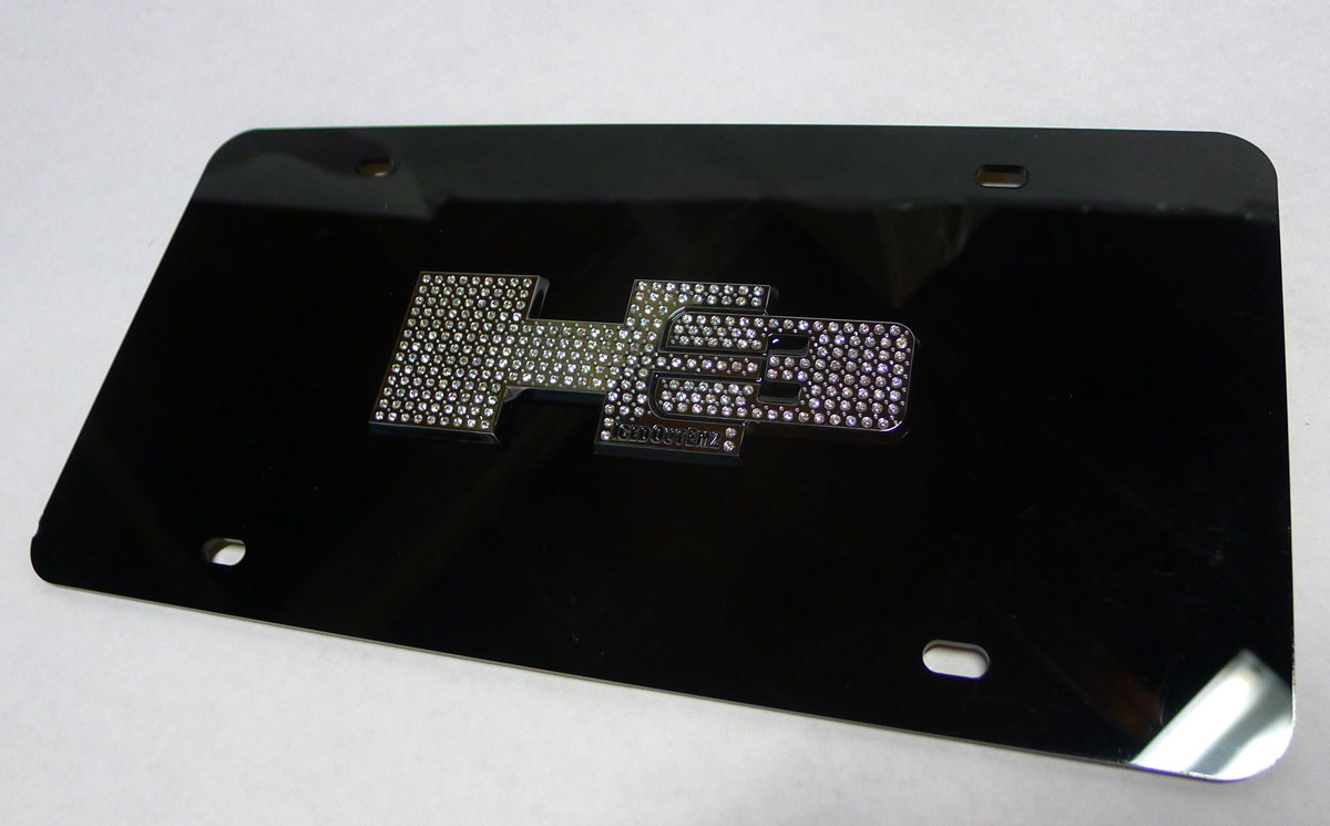 Hummer H3 Black License Plate Cover W Chrome Iced Out