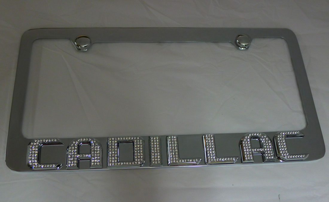 Cadillac License Plate Frame W Iced Out Emz Swarovski