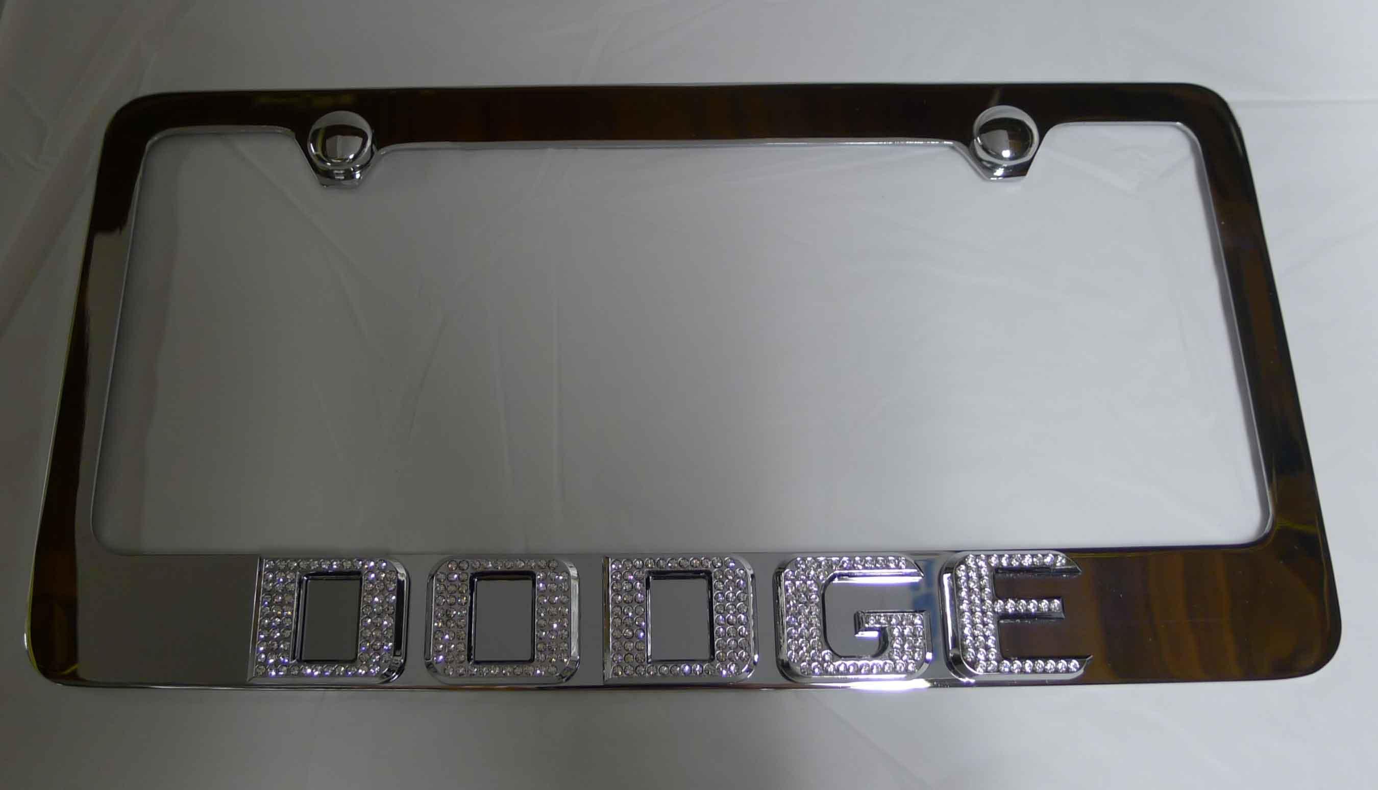 Dodge Chrome License Plate Frame w/ Iced Out Emz Swarovski Crystal ...