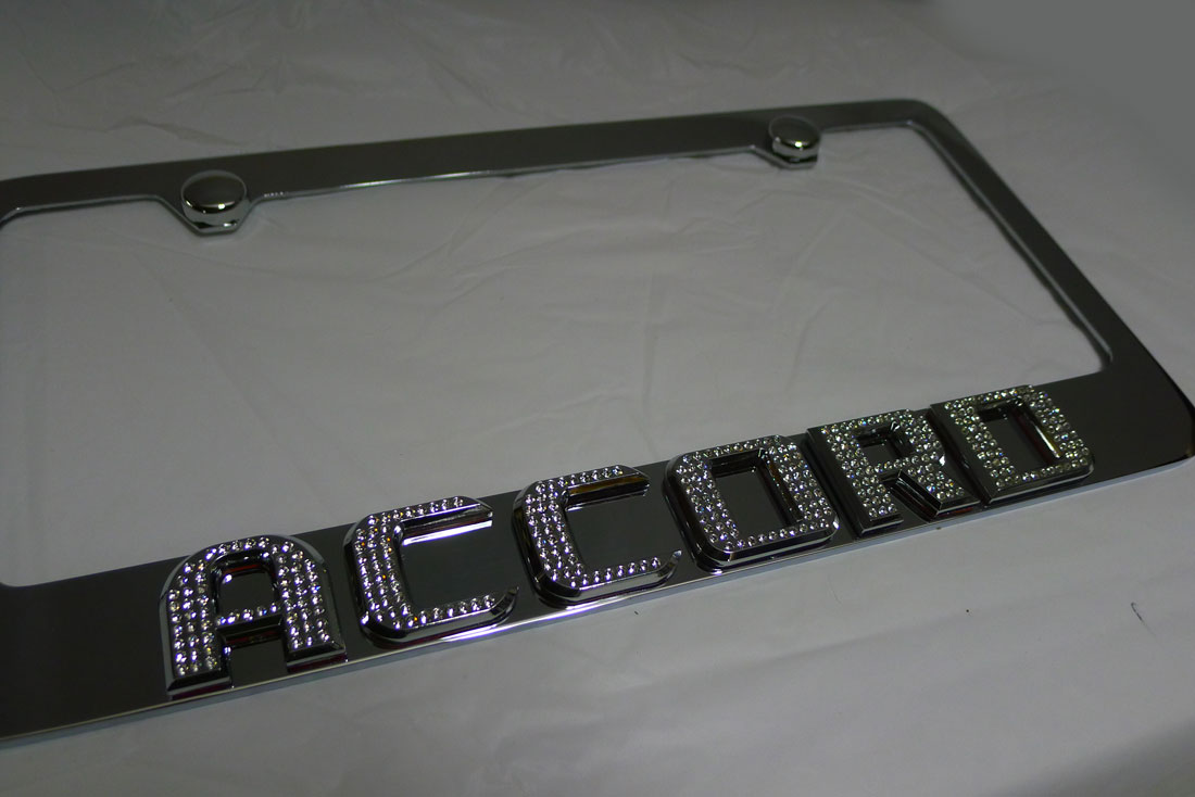 Honda Accord Chrome License Plate Frame W Iced Out Emz