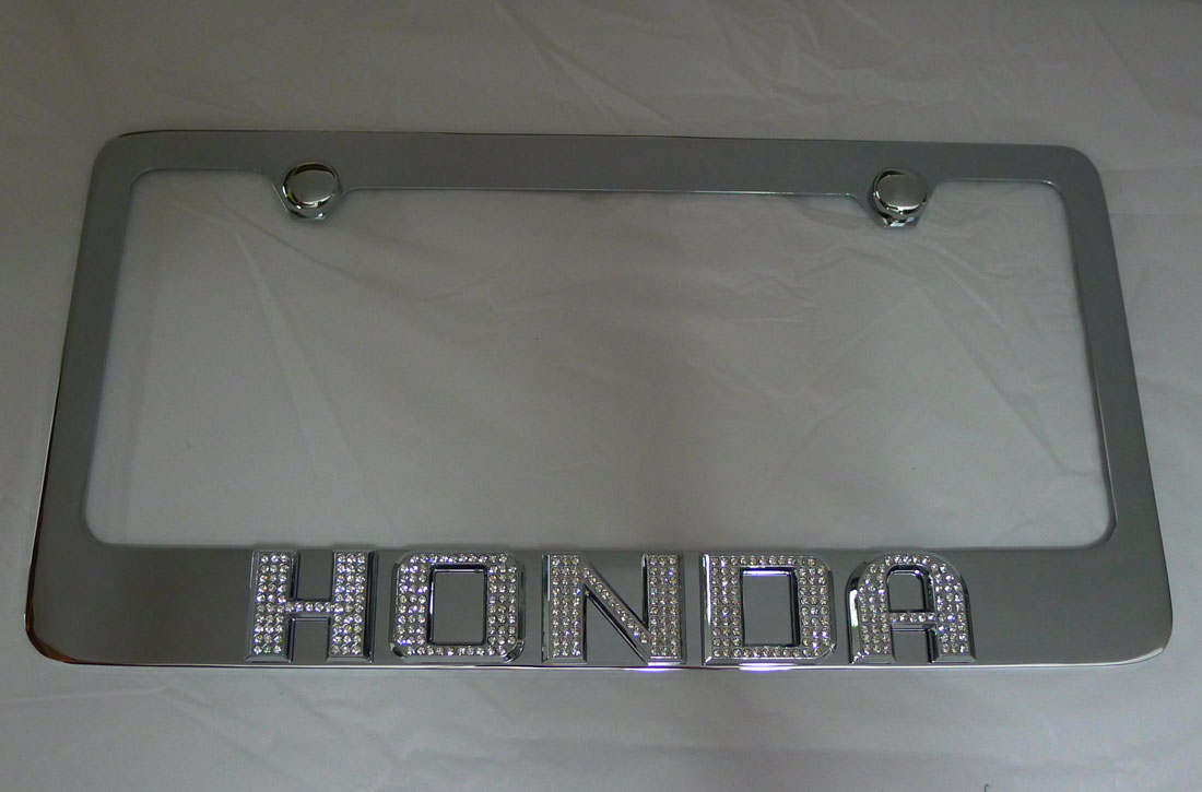 Honda License Plate Frame W Iced Out Emz Swarovski