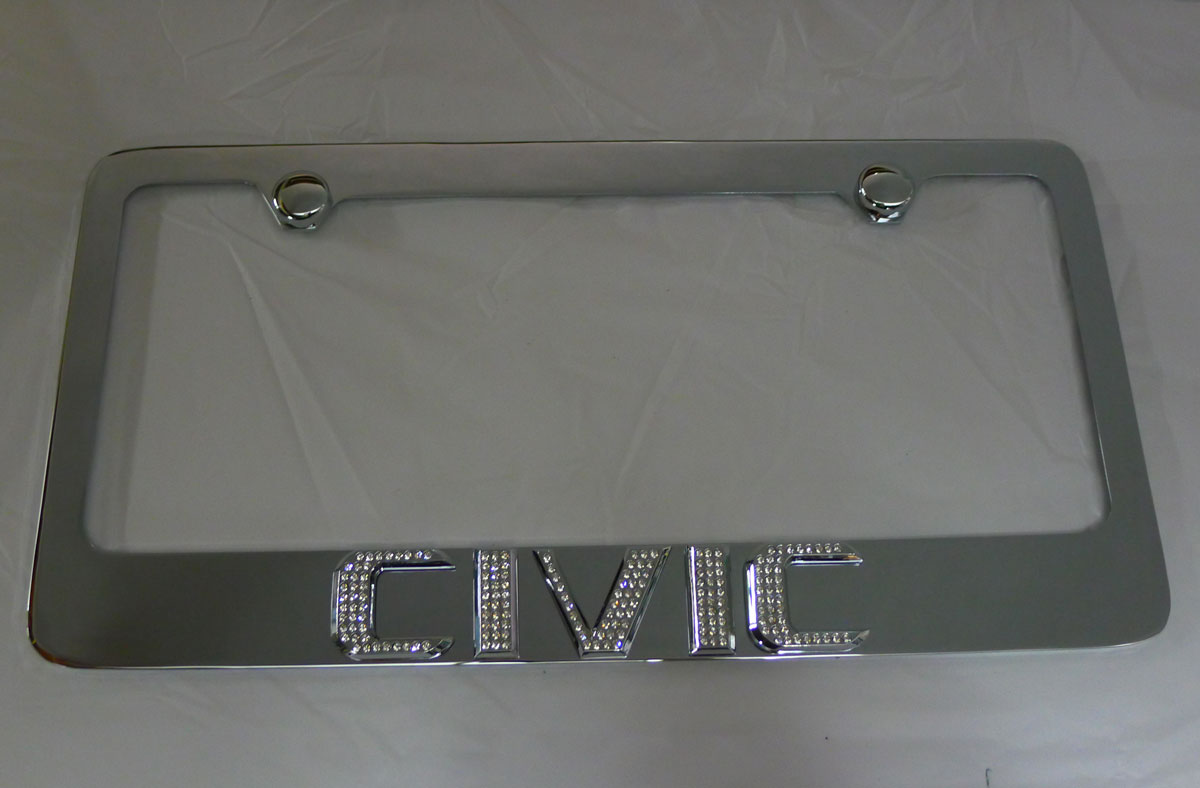 Honda Civic Chrome License Plate Frame W Iced Out Emz