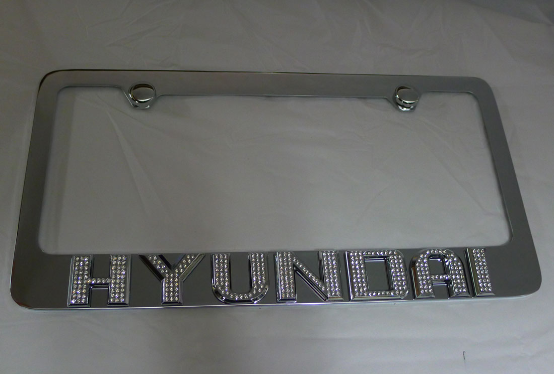 ... Hyundai Sonata Chrome Iced Out Emblem License Plate Frame
