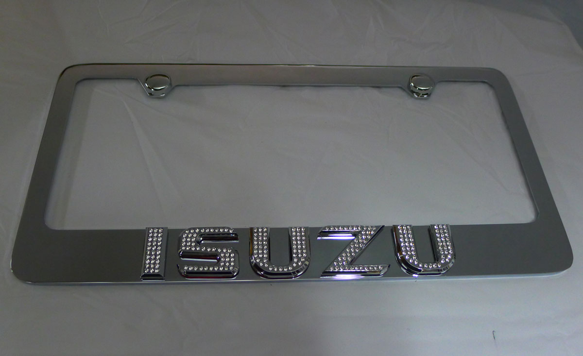 isuzu license plate frame w iced out emz swarovski. Black Bedroom Furniture Sets. Home Design Ideas