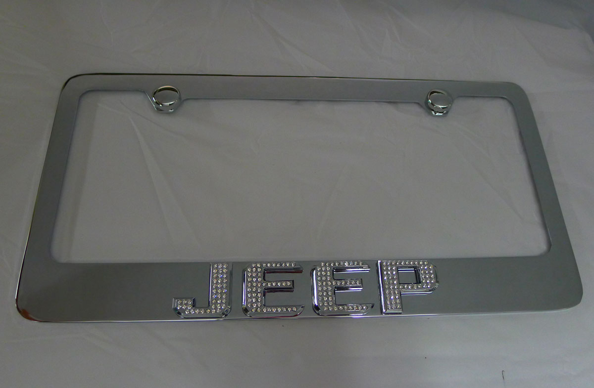 jeep wrangler chrome iced out emblem license plate frame