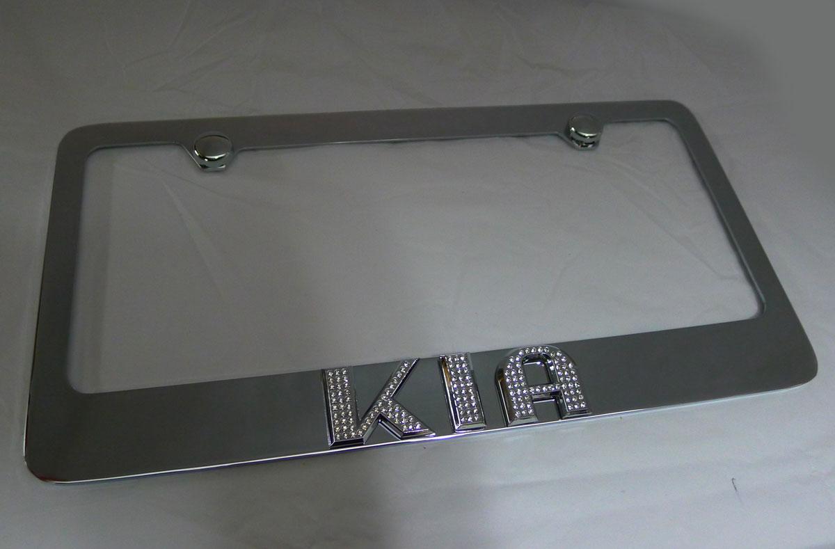 KIA License Plate Frame w/ Iced Out Emz Swarovski Crystal Emblem