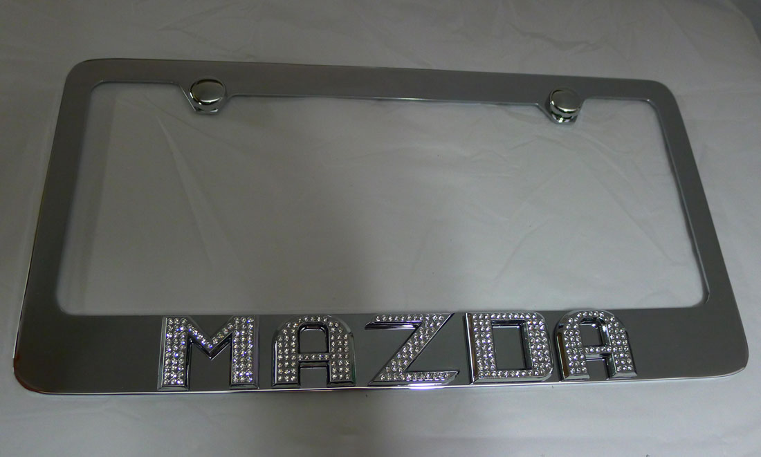 mazda chrome iced out emblem license plate frame
