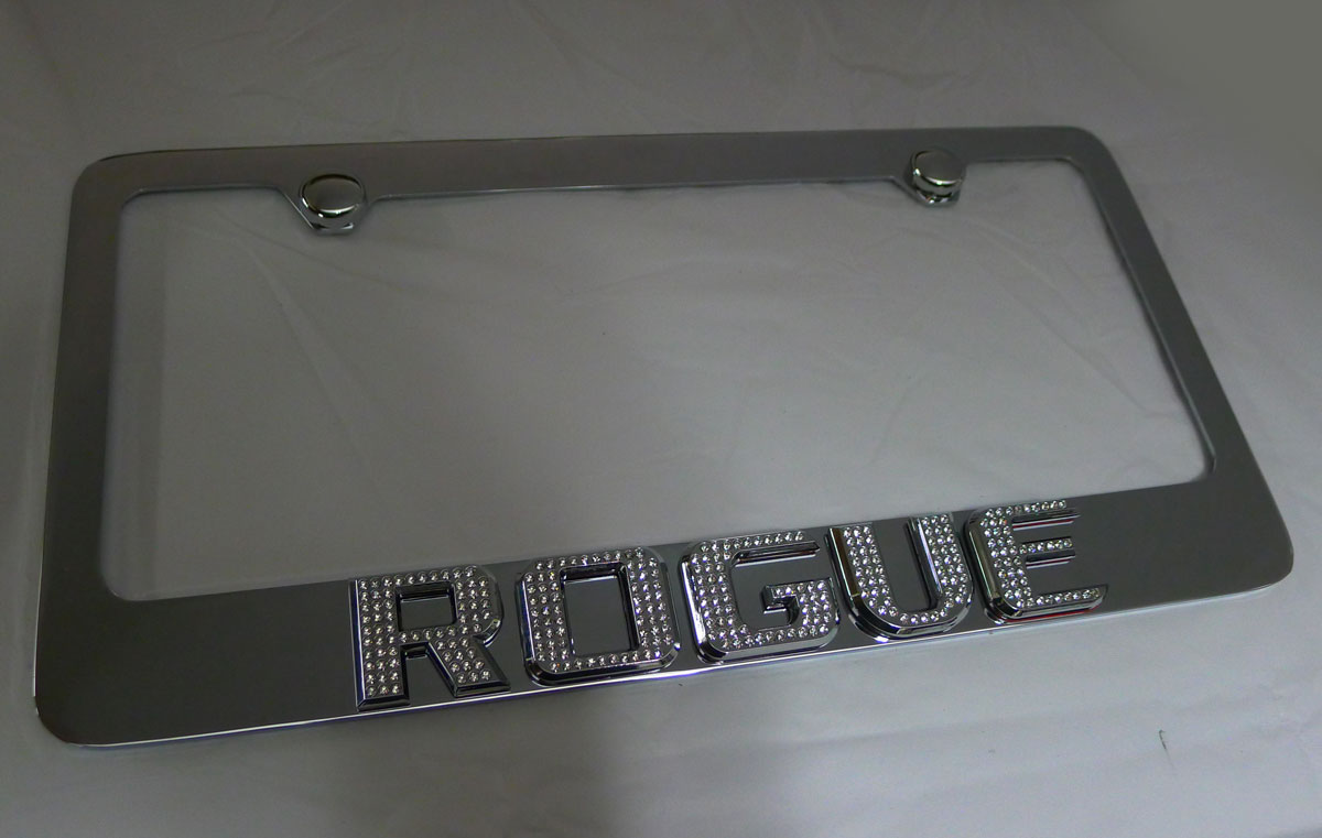 nissan rogue chrome iced out emblem license plate frame