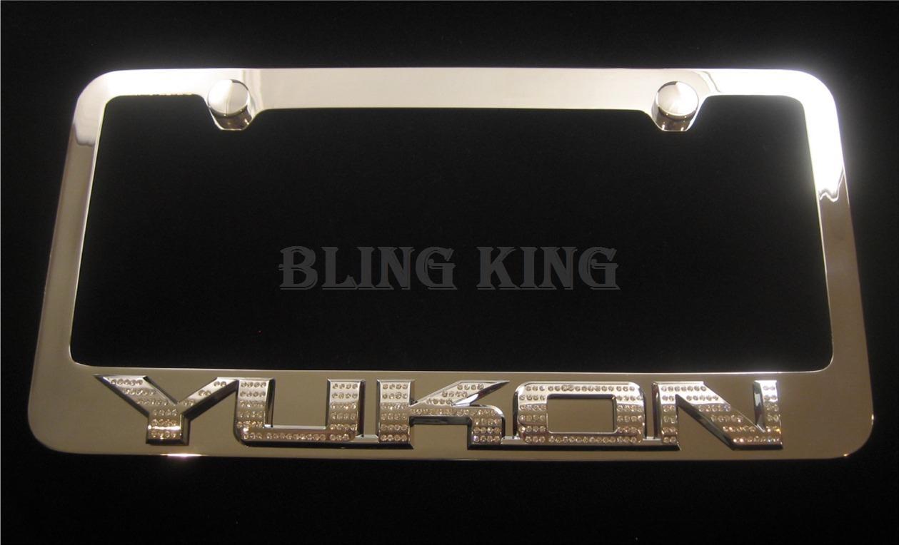 GMC Yukon Chrome License Plate Frame with Iced Out Emz Swarovski ...