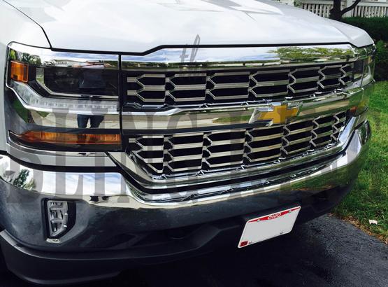 2016 2018 Chevy Silverado Chrome Mesh Grille Insert Overlay Trim Ls